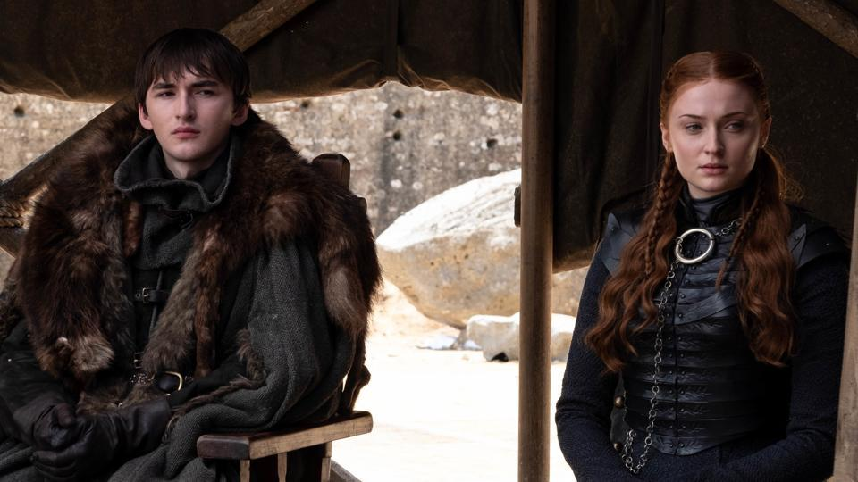 Bran and Sansa Stark in the series finale of Game of Thrones, The Iron Throne.