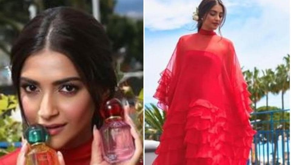 Sonam Kapoor poses at the Cannes Film Festival.