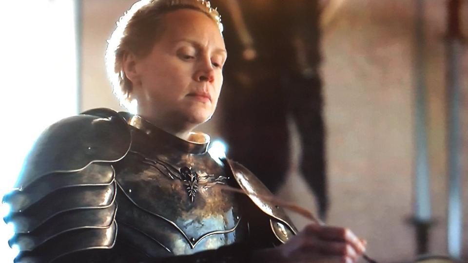 Gwendoline Christie as Brienne of Tarth in the final episode of Game of Thrones.