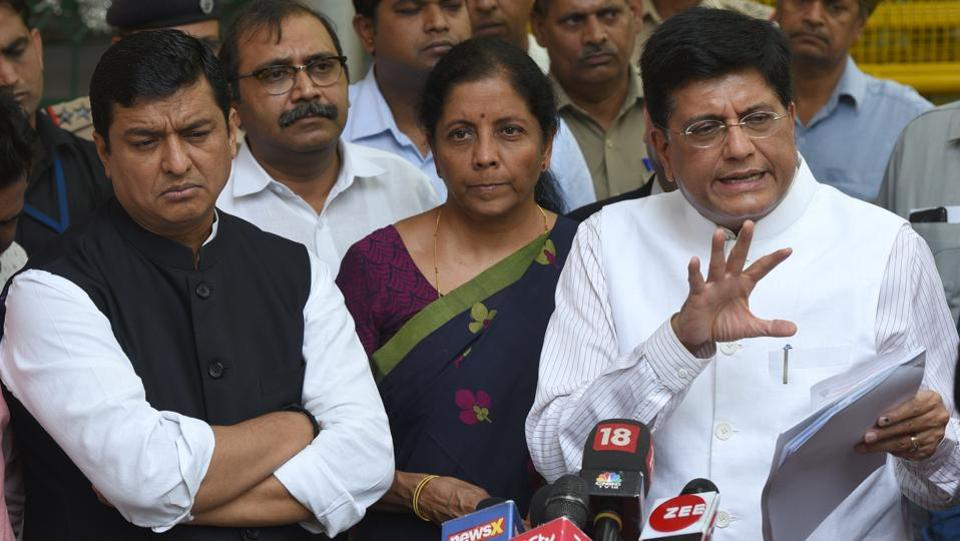 "A BJP delegation comprising Union Minister Piyush Goyal, Nirmala Sitharaman, Anil Baluni and others met Election Commission officials regarding violence during the Lok Sabha polls, at Nirvachan Sadan in New Delhi. ""We reiterated our demand for re-poll for constituencies where violence occurred in the seventh phase and earlier phases, particularly in West Bengal,"" Goyal said. (Sonu Mehta / HT Photo)"