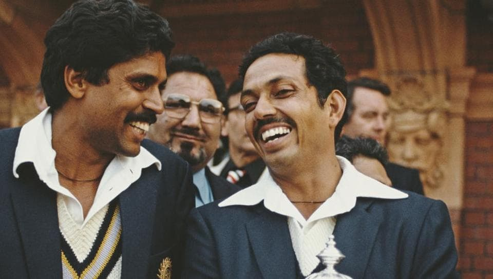 India players Kapil Dev (l) and Man of the Match Mohinder Armanath pictured after the 1983 Prudential World Cup Final victory against West Indies at Lords on June 23, 1983 in London, England