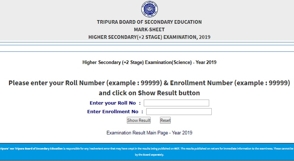Tripura TBSE 12th Science Result 2019 out today at