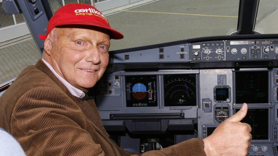 Picture taken on March 22, 2007 shows Austrian three-time Formula One world champion Niki Lauda posing in the cockpit of an Airbus A 319 in Hamburg, northern Germany