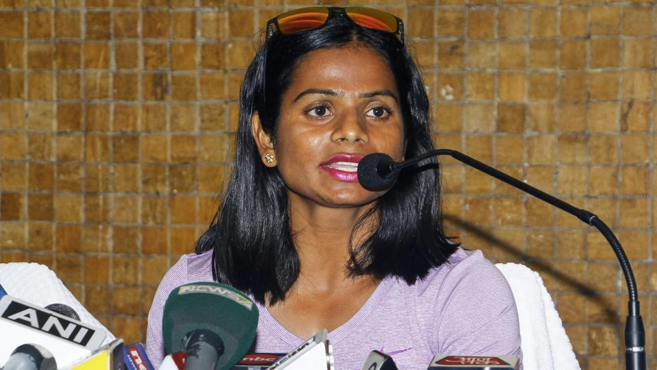 Indian sprinter Dutee Chand addresses a press conference in Bhubaneswar.