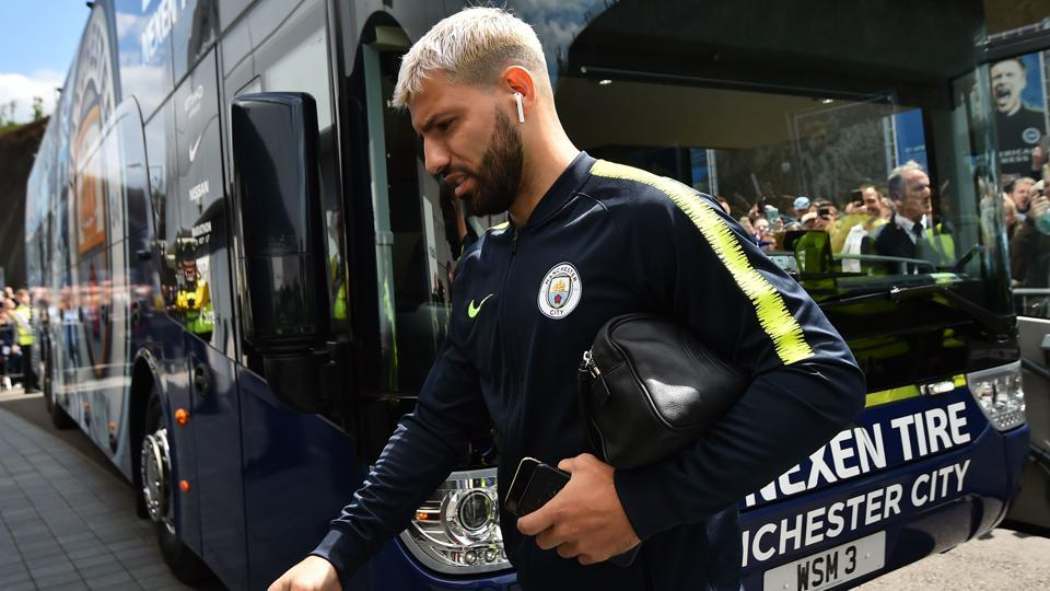 Manchester City's Argentinian striker Sergio Aguero arrives for the English Premier League football match.