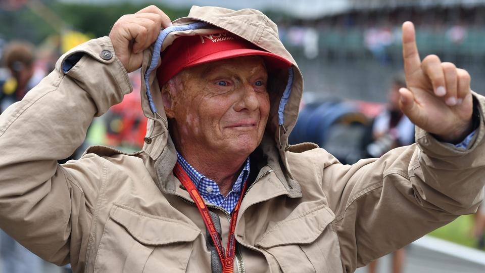 Former Formula One Champion Niki Lauda is pictured ahead of the British Formula One Grand Prix.