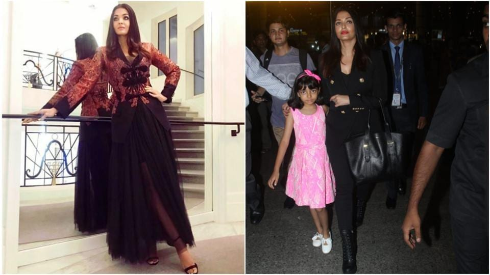 Aishwarya Rai's latest look from Cannes and the actor with daughter Aaradhya at the Mumbai airport.
