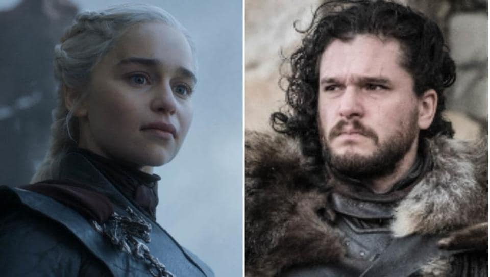 Kit Harington and Emilia Clarke in the series finale of Game of Thrones.