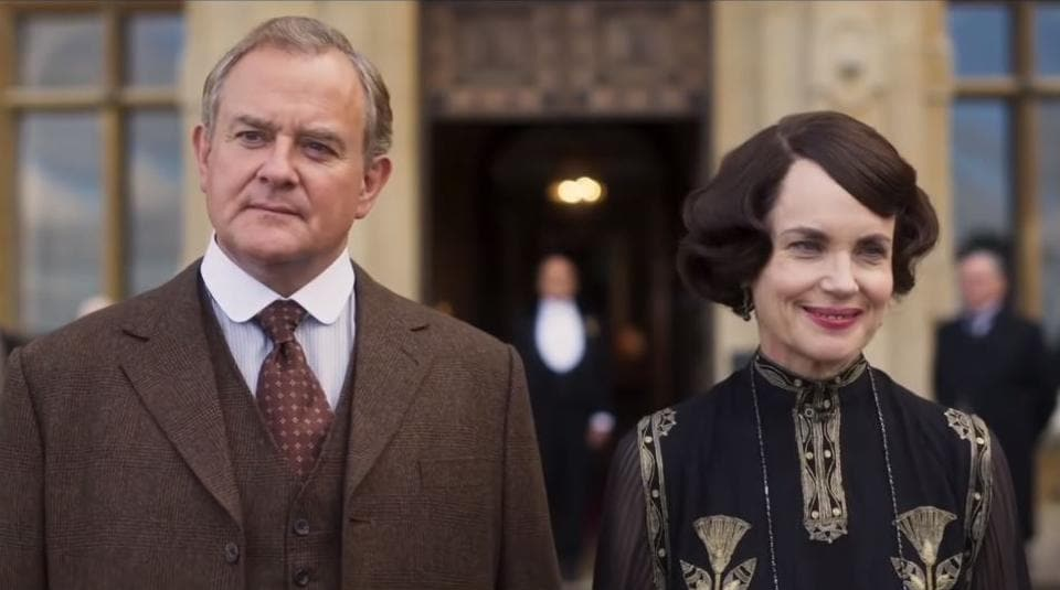 Hugh Bonnerville and Elizabeth McGovern as Robert and Cora Crawley in Downton Abbey.
