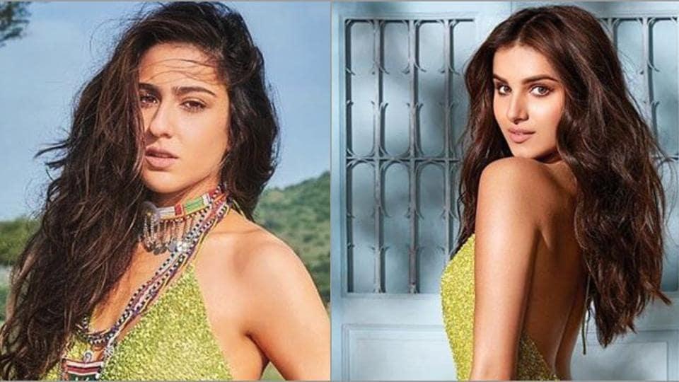Sara Ali Khan, Tara Sutaria rock the same green embellished gown.