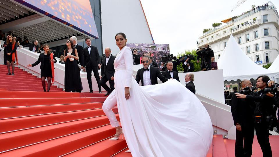 Sonam Kapoor poses as she arrives for the screening of the film Once Upon a Time... in Hollywood at the 72nd edition of the Cannes Film Festival in Cannes, southern France, on May 21.