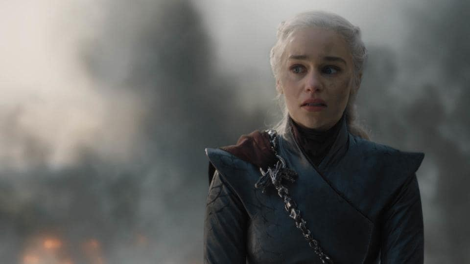 Emilia Clarke in a scene from Game of Thrones.
