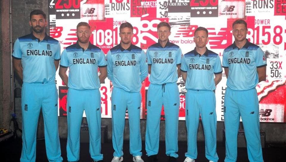 England's Liam Plunkett, Jonny Bairstow, Jason Roy, Joe Root, Eoin Morgan and Jos Buttler pose during the launch