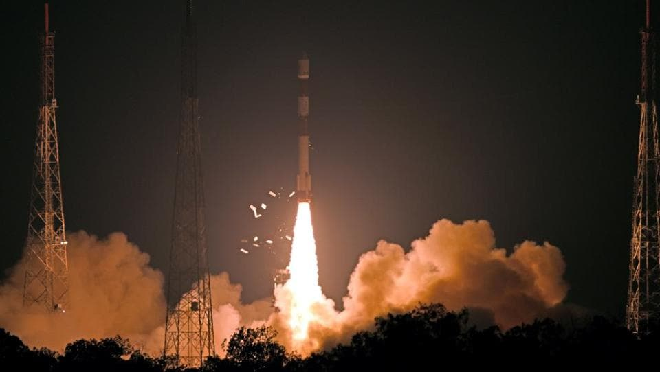 Indian space agency ISRO successfully launched Polar Satellite Launch Vehicle (PSLV-C46) carrying the 615 kg earth observation satellite RISAT-2B from the Satish Dhawan Space Centre in Sriharikota. (ANI)