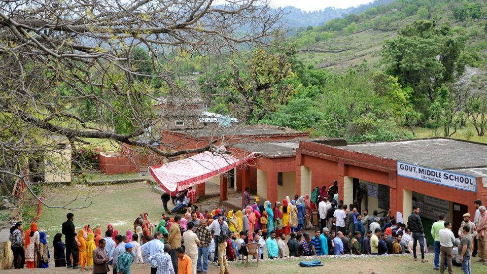 During the second phase of the polls on May 18, people queued to cast their votes at a government school at Udhampur, about 75 km from Jammu. Jammu and Kashmir contributes to 6 seats in the 543-membered Lok Sabha but saw polling the process of re-polling drag across several phases due to either security concerns or low voter participation. (Nitin Kanotra / HT Photo)