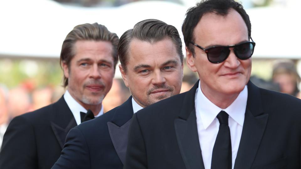 Quentin Tarantino, Leonardo DiCaprio and Brad Pitt arrive for the screening of the film Once Upon a Time... in Hollywood.