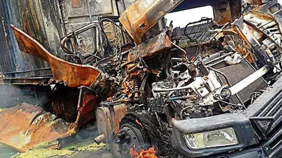 A 37-year-old truck driver was charred to death in the early hours of Wednesday, following a collision between two trucks that led to a fire, at Asodha in Bahadurgarh on the Kundli-Manesar-Palwal (KMP) Expressway, the police said.