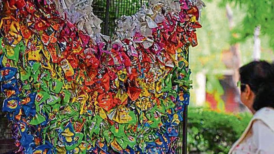 NIFT students used littered plastic items to create two angel wings at the Deer Park in Hauz Khas.
