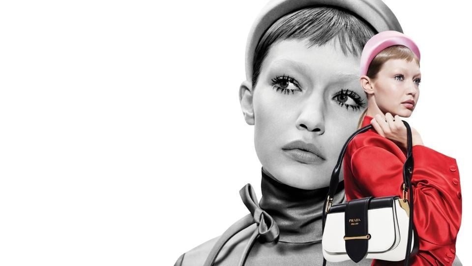 A model featured on Prada's official website.