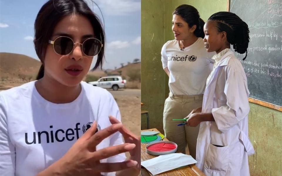 Actor Priyanka Chopra is spending time with refugee kids in Ethiopia.