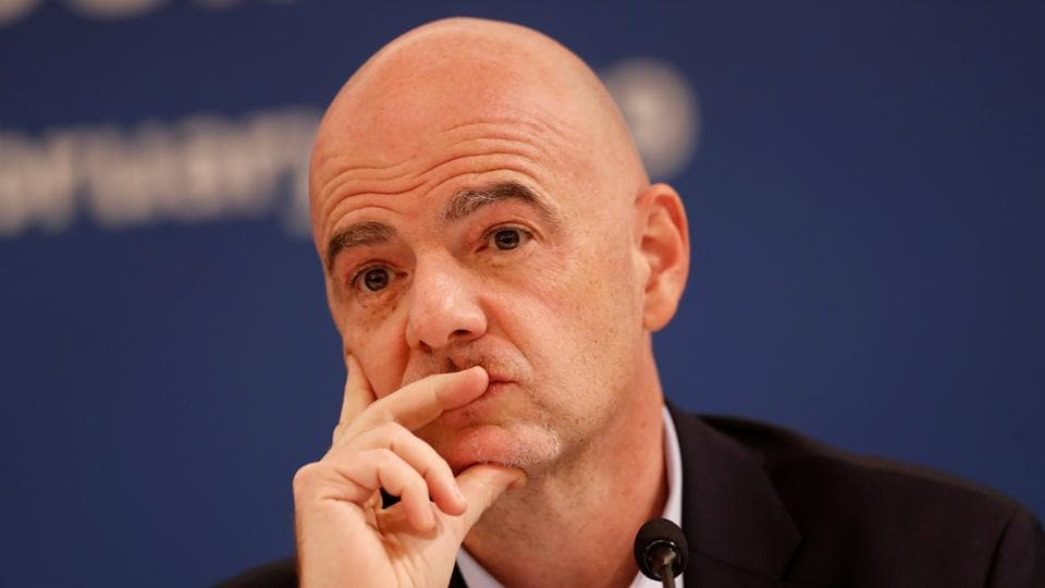 FIFA President Gianni Infantino during a media briefing.
