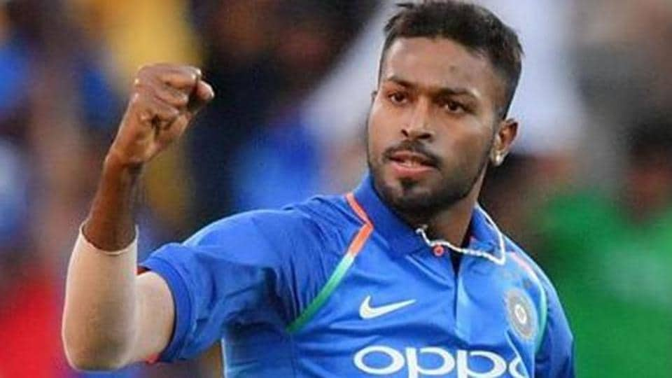 India's Hardik Pandya celebrates after bowling out New Zealand's Ross Taylor.