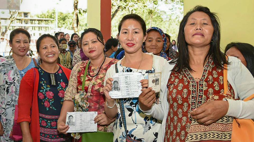 Women queue up to cast their votes at a polling station, during the 1st Phase of Lok Sabha elections 2019, in Itanagar, Arunachal Pradesh, Thursday, April 11, 2019. Counting of votes for the parliamentary and four assembly elections is taking place on May 23.