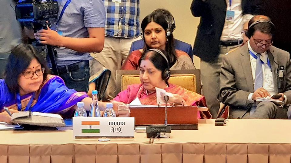 Bishkek: External Affairs Minister Sushma Swaraj delivers her statement at Shanghai Cooperation Organisation (SCO) Council of Foreign Ministers in Bishkek, Kyrgyzstan, Wednesday, May 22, 2019.