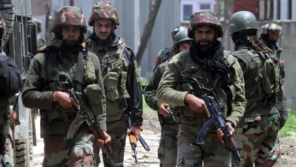Two Hizbul Mujahideen militants were killed in a gunfight with security forces in south Kashmir's Kulgam district, police said. The encounter took place after a joint team of the army, the Central Reserve Police Force and Jammu and Kashmir police launched a cordon and search operation in the Gopalpora area of DH Pora town in Kulgam. (HT File)