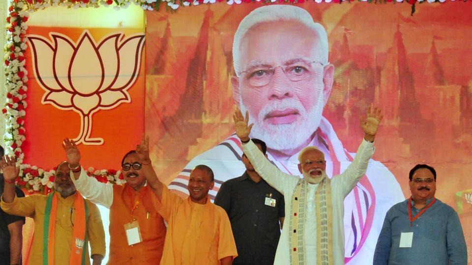 Prime Minsiter Narendra Modi during BJP workers meet programme in Varanasi