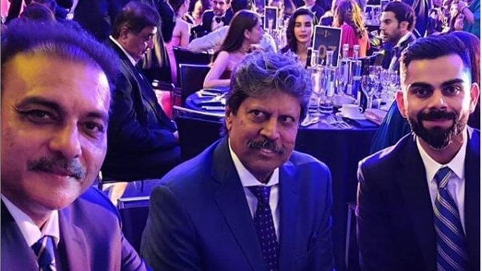 RaviShastri, Kapil Dev and Virat Kohli (L-R)