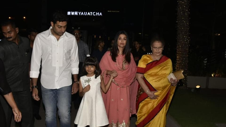 Abhishek Bachchan with daughter Aaradhya, wife Aishwarya Rai and mother-in-law Brinda Rai for a family dinner.