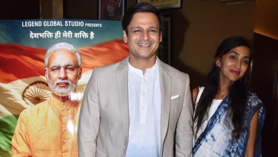 Vivek Oberoi with his wife Priyanka Alva at the screening of his film PM Narendra Modi.