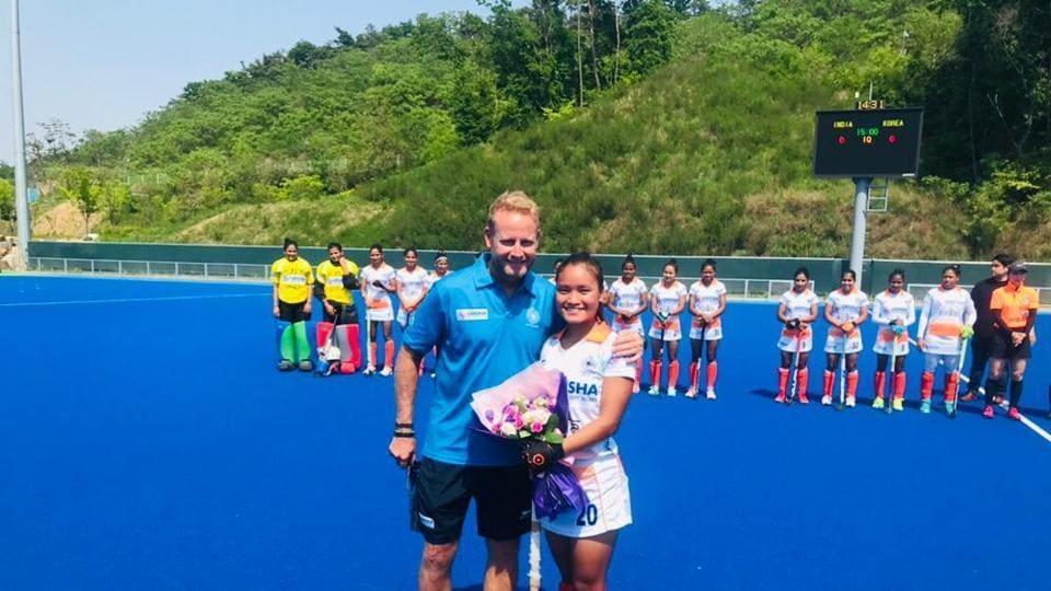 India's chief coach Sjoerd Marijne with Lalremsiami.