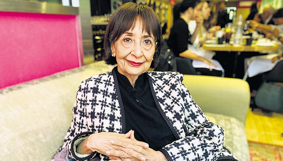 Actor-author Madhur Jaffrey at the New York restaurant Saar.