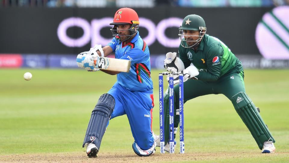 Afghanistan's Hashmatullah Shahidi bats during the 2019 Cricket World Cup warm up match. (AFP)
