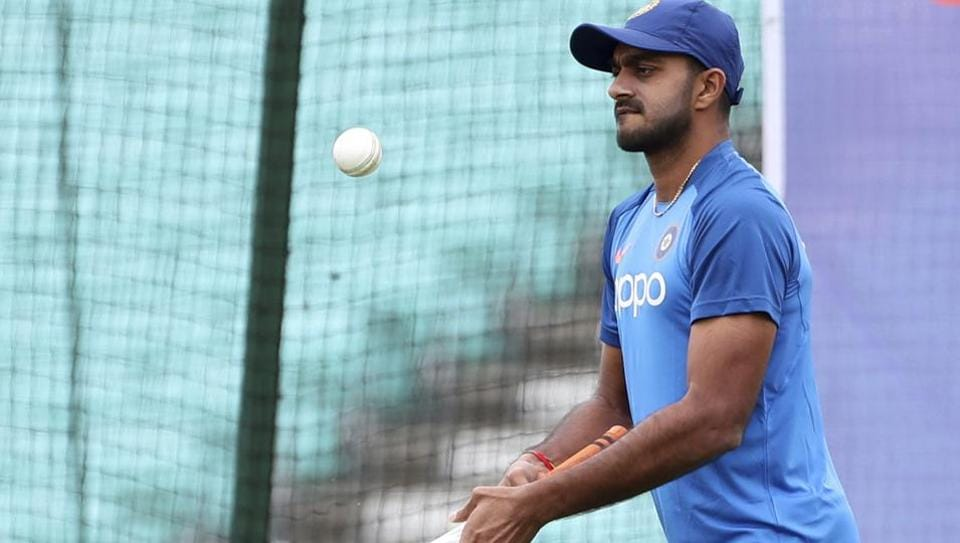 India's Vijay Shankar attends a training session at The Oval in London.