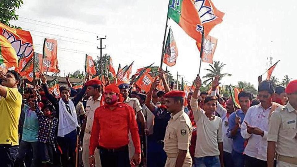 BJP supporters celebrate the party's victory in Araria on Thursday
