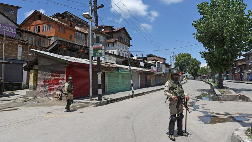 Curfew continued in parts of Kashmir for a second day Saturday following the killing of Zakir Musa, the proclaimed chief of an Al-Qaeda afiliated group, in an encounter with security forces in Pulwama district Friday. The curbs on movement were in force in parts of Srinagar, and Kulgam and Pulwama towns. Schools and colleges remained shut while mobile internet continued to be suspended across the valley (Waseem Andrabi / HTPhoto)