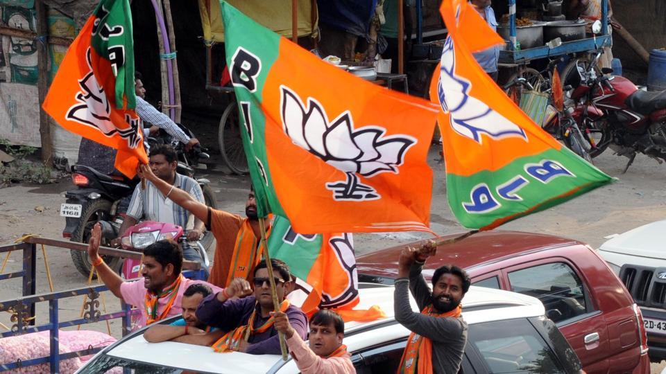 BJP workers during a victory procession.