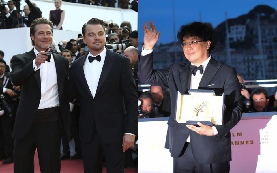 Brad Pitt and Leonardo DiCaprio at the premiere of the film Once Upon a Time in Hollywood at Cannes (left) and South Korean director Bong Joon-Ho poses with his trophy after he won the Palme d'Or for the film Parasite (Gisaengchung).