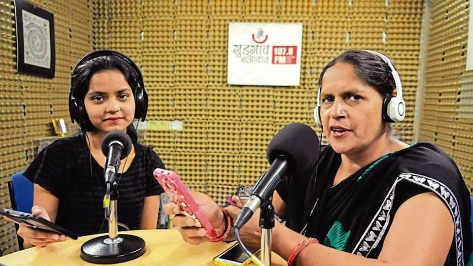 Preeti Jhakra and Sharmila Sharma hosting an episode of Chahat Chowk, a programme the Gurgaon Ki Awaaz radio station started in 2013 in collaboration with the UNESCO Chair on Community Media in Gurugram.