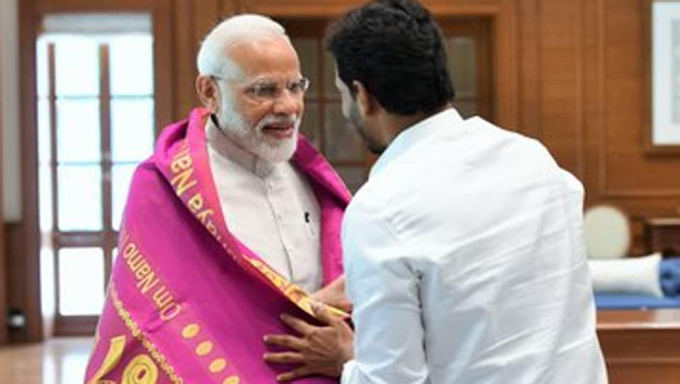Andhra Pradesh chief minister-designate meeting Prime Minister Narendra Modi in New Delhi on Sunday.