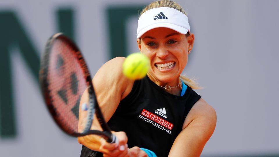 Germany's Angelique Kerber in action during her first round match against Russia's Anastasia Potapova.