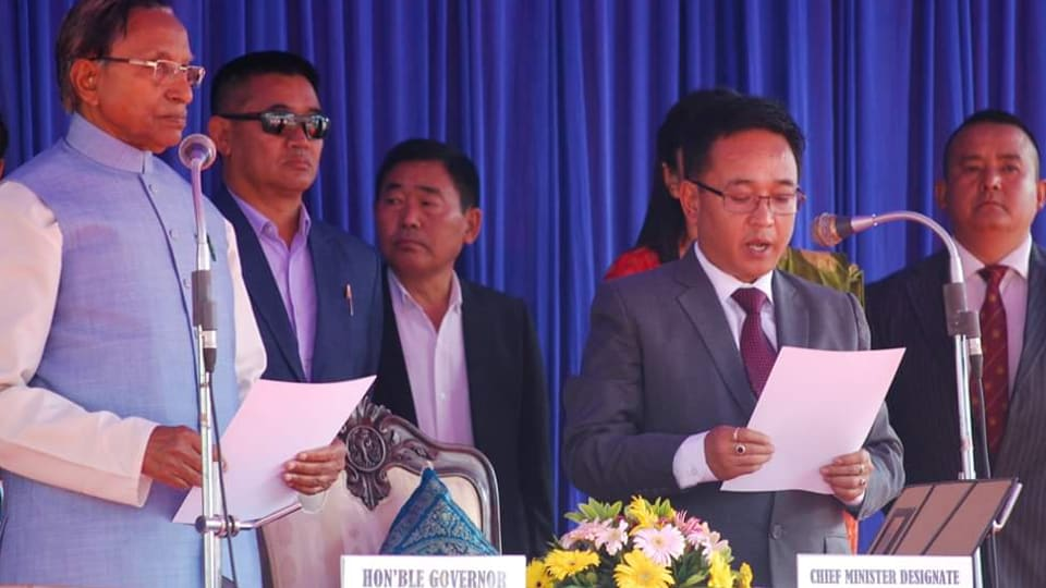 Prem Singh Tamang, popular as P S Golay, became the sixth chief minister of Sikkim when he was sworn in by governor Ganga Prasad at Gangtok's Paljore stadium