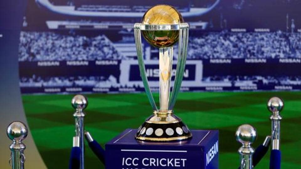 The 2019 ICC Cricket World Cup Trophy is seen during a trophy tour event.
