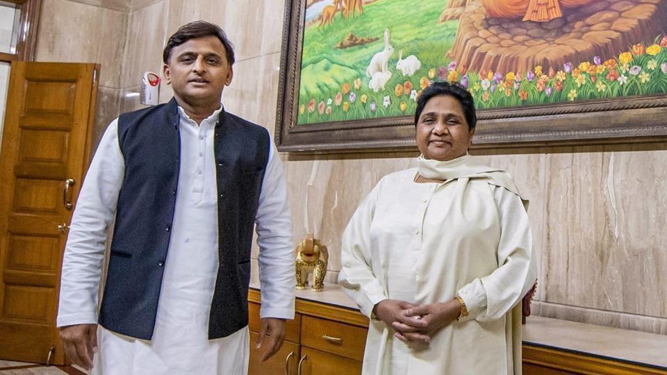 Samajwadi Party President Akhilesh Yadav and Bahujan Samajwadi Party chief Mayawati at latter's residence, in Lucknow, Monday, May 20, 2019.