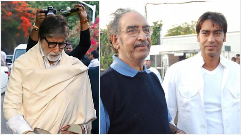Amitabh Bachchan met Ajay Devgn at his father Veeru Devgan's funeral.