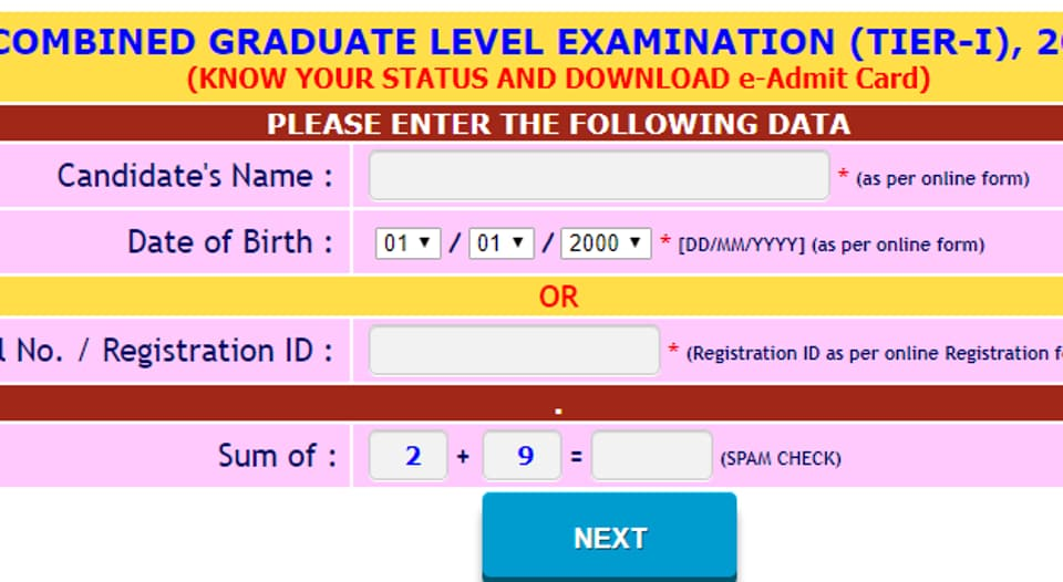 SSC CGL Tier 1 admit card 2019 released, here's direct link