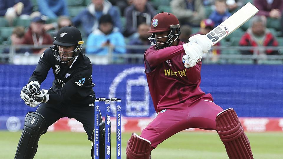 West Indies' Shai Hope, right, in batting action during the World Cup Warm up match against New Zealand.